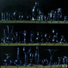 Malarstwo - Kody - Alfabet szkieł, olej na płycie, malowany z pamięci / My painting - Codes - Glass alphabet, oil on board, painted from memory, imagination / 90x90 cm, 2005-7. http://pawgalmal.blogspot.com