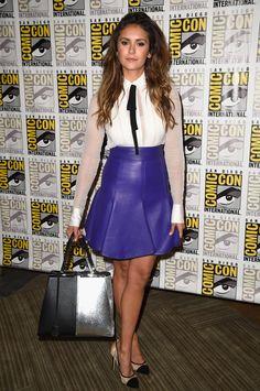 7c6f2aa697b Nina Dobrev in J Mendel shirt and skirt