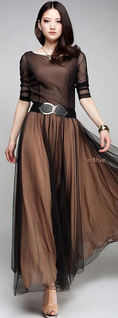 Vintage Chiffon Dress in Chocolate