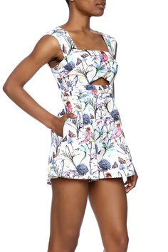 Floral print romper with peek-a-boodetail on the bodice.   Justina Floral Romper by luxxel. Clothing - Jumpsuits & Rompers - Rompers Minneapolis, Minnesota
