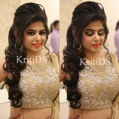 Pretty Engagement Makeup By Kritids Hair Styles Hair Styles Lehenga Hairstyles, Hairstyles For Gowns, Open Hairstyles, Indian Wedding Hairstyles, Bride Hairstyles, Engagement Hairstyles, Engagement Makeup, Bridal Hair Buns, Bridal Hairdo
