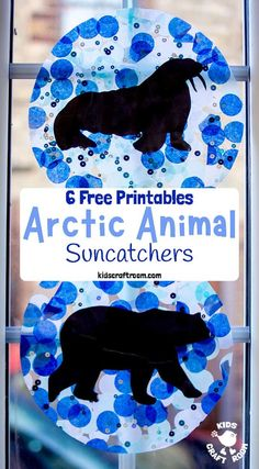 This Arctic Animal Suncatcher Craft is a gorgeous Winter craft for kids. Hang them in a window or from the ceiling and they look super pretty when the light shines through them. free printable polar animal silhouettes to choose from. Winter Activities For Kids, Winter Crafts For Kids, Winter Kids, Quiet Toddler Activities, Winter Art, Artic Animals, Animal Crafts For Kids, Polar Animals Preschool Crafts, Animal Activities