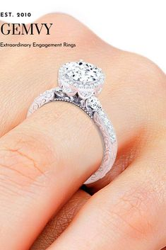 Three stone diamond engagement ring from Gemvy Round Diamond Engagement Rings, Three Stone Engagement Rings, Designer Engagement Rings, Vintage Engagement Rings, Vintage Diamond, Fine Jewelry, Dream Wedding, Wedding Ideas, Natural
