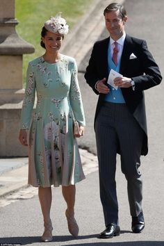 Pregnant Pippa Middleton (left), sister of Kate, Duchess of Cambridge, and her husband James Matthews (right) arrive today