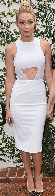 Who made Gigi Hadid's white cut out dress and stripe pumps that she wore in Los Angeles on January 10, 2015?