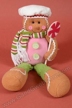 "14"" FABRIC SITTING GINGERBREAD SNOWMAN GREEN/PINK - GandGwebStore.com"