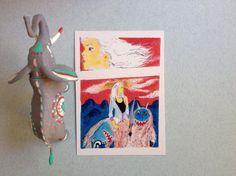 Cartolina folklore giapponese mostri giapponesi arte