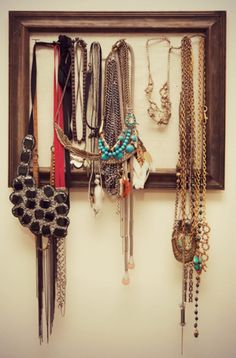 Picture frame for hanging necklaces and jewelry