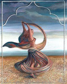 Dance of the Seven Veils Bellydance art by Emily Balivet