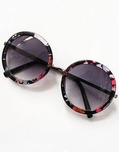 Purple Round Lenses Floral Sunglasses -SheIn Óculos De Sol Retro, Óculos De  Sol De 252b509eaa