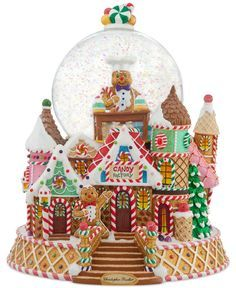Very rare snowglobe by Christopher Radko. North Pole is presenting the item 2012057 Gingerbread Snow Globe by Christopher Radko . Christmas Snow Globes, Christmas Time, Globe Cake, Candy Factory, Musical Snow Globes, Christopher Radko Ornaments, Candy House, Christmas Gingerbread, Gingerbread Houses