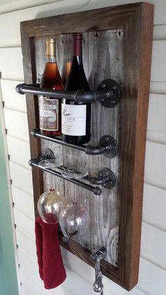 Wine Rack Reclaimed Wood barn wood Industrial pipe