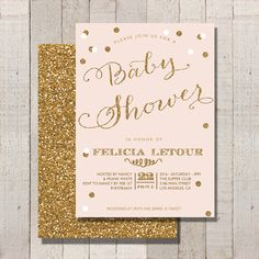 Baby Shower Invitation Blush Pink and Gold by FateandFourtune