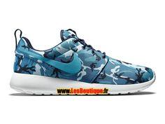 """Nike Wmns Roshe One Print """"Blue Camo"""" - Chaussures Nike Sportswear Pas Cher Pour Femme/Enfant Bleu nuit marine/Bleu foncé…"""