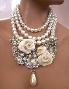 7c43c30bc chanel style statement necklace - stunning with Amour Eternel Wedding  Dresses | www.amoureternel.