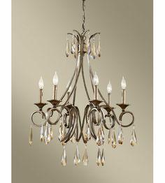 Feiss Reina 6 Light Chandelier in Gilded Imperial Silver F2636/6GIS #lighting