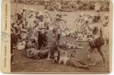 Dahomey Amazon warriors practicing their military skills and posing for the camera. Circa 1893