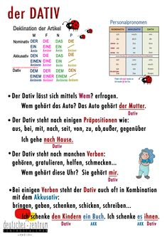 Dativ - Deutsch/ Alemán / German / DAF / German Wortschatz / Vocabulario / Grammatik / Dativ Sie sind an de - Study German, German English, Learn German, German Grammar, German Words, Dativ Deutsch, Dative Case, German Resources, Deutsch Language