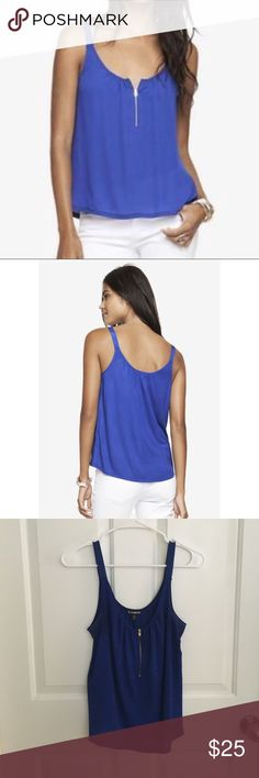 Express Front Zip Tank Express Front Zip Tank, gold hardware, royal blue, excellent condition, no rips or stains Express Tops Tank Tops
