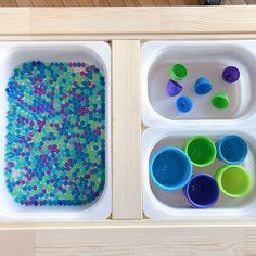 18 Ways to Play With Your Ikea Flisat Table Indoor Activities, Sensory Activities, Toddler Activities, Sensory Play, Sensory Diet, Play Doh Table, Toddler Sensory Bins, Montessori Trays, Toddler Table