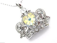Crown Pendant Women's Center Heart AB Crystal Necklace New #Unbranded #Pendant