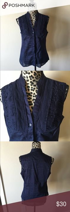 Express navy blue tank Super cute navy blue button down tank... With the cutest detail in front... Light, airy, and perfect for summer!!! Express Tops Tank Tops