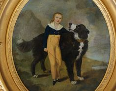 Antique Oil Painting ~ Newfoundland Dog With Boy