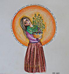 Las flores de mi jardín Han de ser mis enfermeras Y si a caso yo me ausento Antes que tu te arrepientas Heredarás estas flores  Ven a curarte con ellas...  Estracto de la Jardinera de Violeta Parra.  #ilustracion #ilustration #color #art
