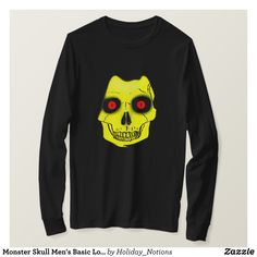 Monster Skull Men's Basic Long Sleeve T-Shirt - Heavyweight Pre-Shrunk Shirts By Talented Fashion & Graphic Designers - #sweatshirts #shirts #mensfashion #apparel #shopping #bargain #sale #outfit #stylish #cool #graphicdesign #trendy #fashion #design #fashiondesign #designer #fashiondesigner #style