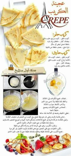 Now this is French creap . the classic .but i suggest a crisper one for nutella Kitchen Recipes, Cooking Recipes, Breakfast Recipes, Dessert Recipes, Coffee Drink Recipes, Arabian Food, Egyptian Food, Cookout Food, Food Dishes