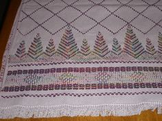 Swedish Huck Weaving. I used this pattern awhile back to make a Christmas throw using red material with shades of greens for the weaving.