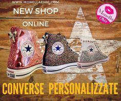 Visita ora il Nuovo Shop Online di #monellachic Vai su www.monellachic.com Scopri le nostre Converse Personalizzate realizzate a mano con: Borchie, Glitter, Teschi e Pelle Lucida!  Online tutti i modelli disponibili!