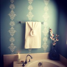 Vertical stencils can make the ceilings seem taller. Check out this bathroom I did. IIII  Follow my work on Instagram @stettiehand