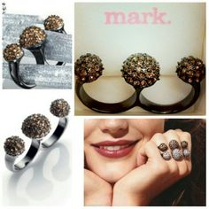 Mark. Disco Domes Ring An inventive design thats a triple threat, style-wise. 2 finger double ring Hematite with golden glass pav rhinestones. Avon Jewelry Rings
