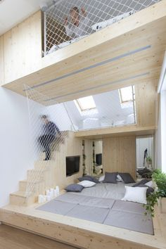 Kids Bedroom Mezzanine in this kids bedroom, there's a 'nest', an elevated wooden box or
