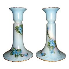 T&V Limoges Candlestick Holders Forget Me Nots