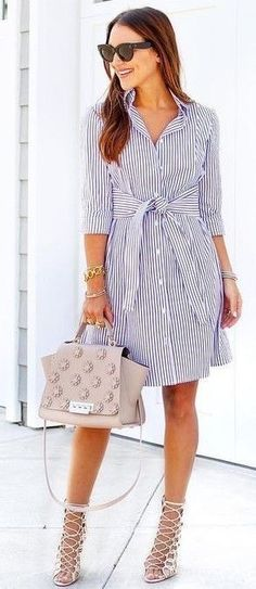 60 Trendy And Lovely Fashion Outfits To Upgrade Your Summer Wardrobe Stripe Shirt Dress Source Mode Outfits, Dress Outfits, Casual Dresses, Casual Outfits, Summer Outfits, Fashion Outfits, Dress Fashion, Fashion Clothes, Summer Work Dresses