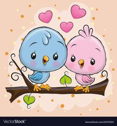 Two Cute Birds is sitting on a branch. Two Cute Cartoon Birds is sitting on a branch stock illustration Cute Cartoon Drawings, Cartoon Birds, Cute Cartoon Animals, Cute Animal Drawings, Bird Drawings, Cartoon Bird Drawing, Cute Cartoon Images, Vogel Clipart, Branch Vector