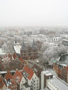 Winter in Lubeck, Germany, view of the gates to the old part of town.