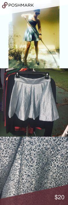 "Adorable shiny light blue skirt XS Cute. pleated.  27"" waist, 17"" waist to hem. Tag says XS Forever 21 Skirts"