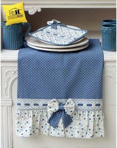 Canovaccio Angelica Home & Country Collezione Cuori Oceano Versione Blu