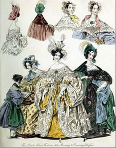 Georgian Fashion of 1836: Plate No 3 - Morning and Evening Dresses