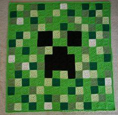 Custom Made Crochet 8-Bit Pixel Art Afghan Throw Blanket--Larger Size Minecraft Creeper