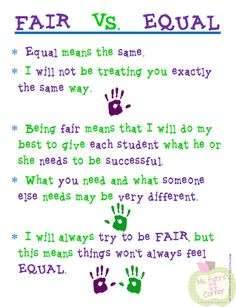 Here's a terrific poster designed to help students understand what fair and equal mean in the context of classroom instruction.