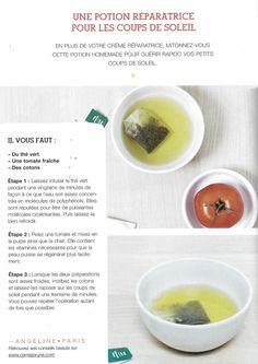 Potion réparatrice pour les coups de soleil : thé vert (infusé 20min) + tomate pelée mixée => imbiber des cotons et les appliquer sur les sunburns