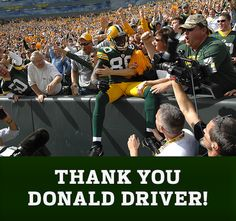 Packers Everywhere | Sign Donald Driver's Retirement Card Go Packers, Packers Football, Best Football Team, Football Season, Green Bay Packers, Donald Driver, Boise State Broncos, Retirement Cards, Oakland Athletics