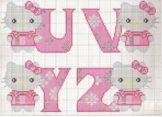 Ponto Cruz - Abecedário Hello Kitty (U-V-Y-Z)