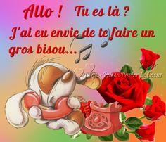 Allo ! Tu es là ? J'ai eu envie de te faire un gros bisou #bisous telephone souris fleurs roses bisou