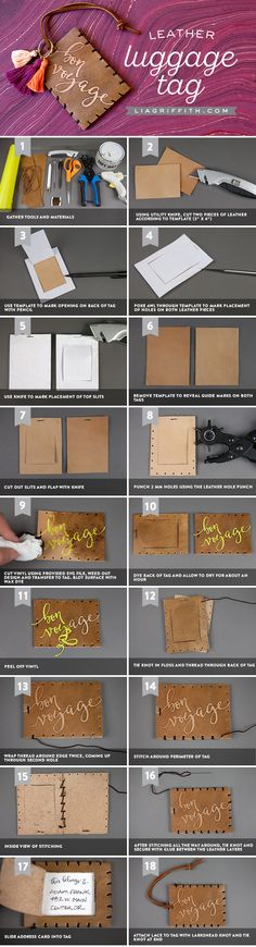 Learn how to make your own luggage tags with our stylish DIY luggage tag template and tutorial, which also shows you easy techniques for staining leather