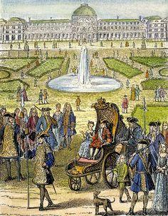 Child King Louis XV Of France (1710-1774) Going for a ride in the garden of the Tuilleries Paris (19th century wood engraving).